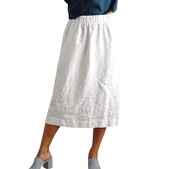 QIjinlok Falda Algodon Mujer Falda Casual de Cintura elástica de ...