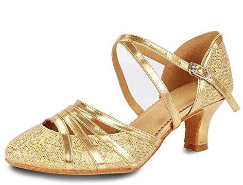 KUKI Zapatos modernos de Baile de salón de baile para mujeres Zapatos Baotou de color latino para bailar zapatos de baile de adultos suaves de oro y plata 4