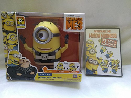 Despicable Me 3 Electronic Deluxe Interactive Minion Poseable Talking Jail Time Carl With Free Moving Eye & Arms and Despicable Me Presents Minion Madness DVD (3 Mini-Movies) New In Unopened Packaging -