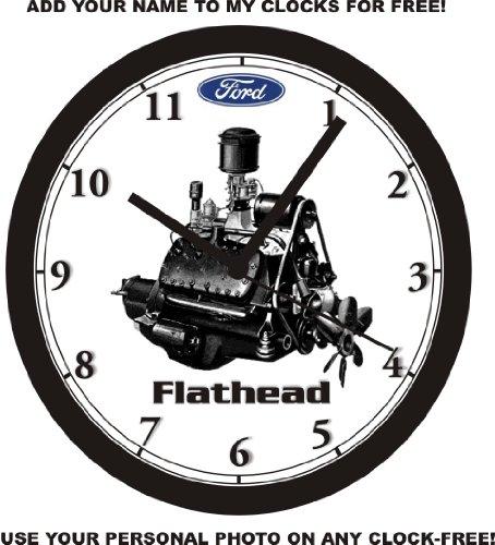 FORD FLATHEAD MOTOR PHOTO WALL CLOCK-Free USA Ship