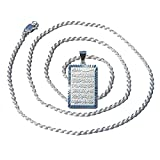 24-inch Rope Chain with Sterling Silver Shiny Rectangular Ayatul-kursi Pendant w/ Diamond-cut Edge
