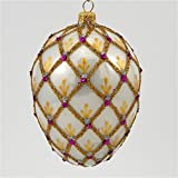 Faberge Inspired Royal Lace Egg - Polish Blown Glass Christmas Ornament