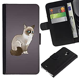 Ihec-Tech / Flip PU Cuero Cover Case para Samsung Galaxy S4 Mini i9190 MINI VERSION! - Funny Angry Mad Cat