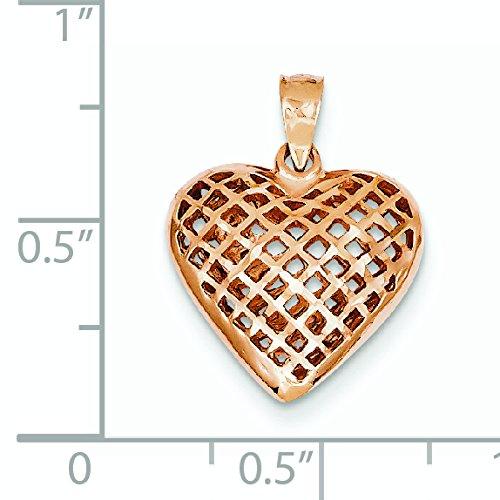 Or Rose 14 carats taille diamant pendentif-Cœur-JewelryWeb