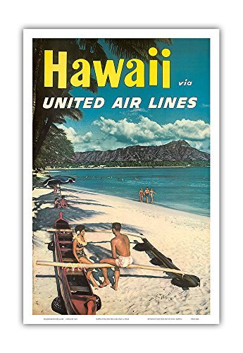 Hawaii - United Air Lines - Couple on Hawaiian Outrigger Canoe (Wa'a) in front of Diamond Head Crater - Vintage Hawaiian Travel Poster c.1960s - Hawaiian Master Art Print - 12 x 18in