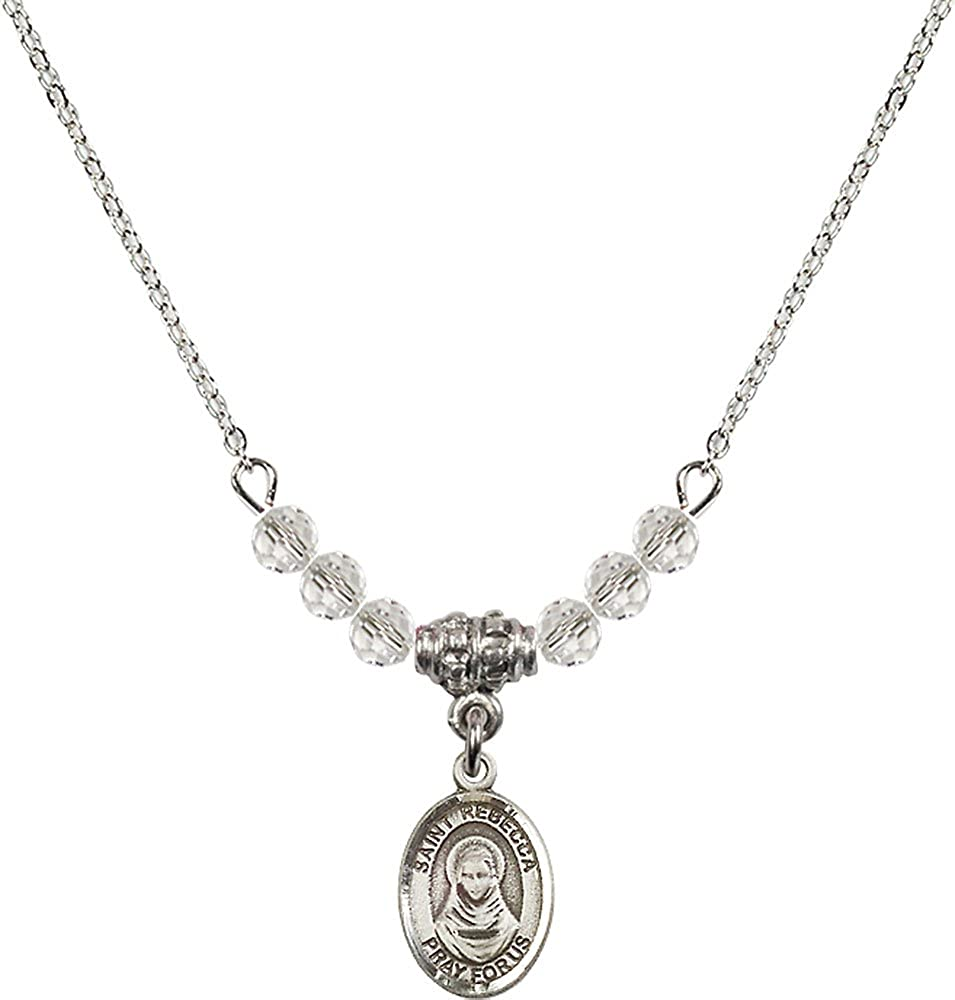 18-Inch Rhodium Plated Necklace with 4mm Crystal Birthstone Beads and Sterling Silver Saint Rebecca Charm.