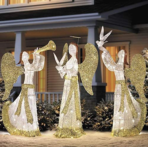 Outdoor Lighted Christmas Angel With Dove in US - 6