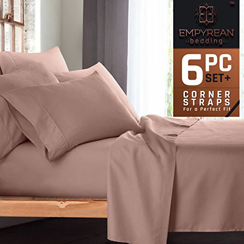 Premium 6-Piece Bed Sheet & Pillow Case Set – Luxurious & Soft Full (Double) Size Linen, Extra Deep Pocket Super Fit Fitted Taupe Sand Sheets - Taupe Hotel Spa Collection