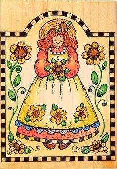 Sunflower Gal Checkerboard Frame Wood Mounted Rubber Stamp H1229