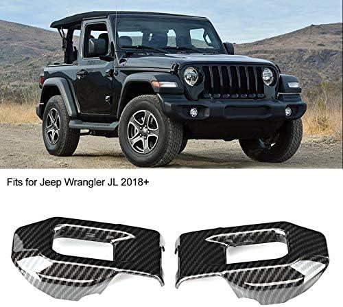 JTSGHRZ Marco Decorativo del Coche para Jeep Wrangler JL 2018 2019 2 Piezas Estilo de Fibra de Carbono Tapa del Motor Cubierta Ajuste Estilo de Cromo Estilo