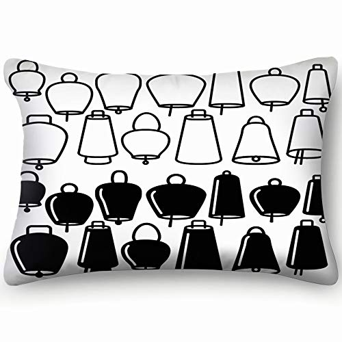 Line Icons Cow Goat Sheep Signs Symbols Bell Cotton Linen Blend Decorative Throw Pillow Cover Cushion Covers Pillowcase Pillow Shams, Home Decor Decorations For Sofa Couch Bed Chair 20X36 Inch