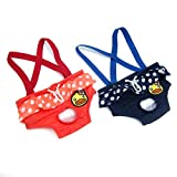 Alfie x B.Duck - Ariel Diaper Dog Sanitary Pantie with Suspender 2-Piece Set for Girl Dogs - Color Navy Peach, Size: XS