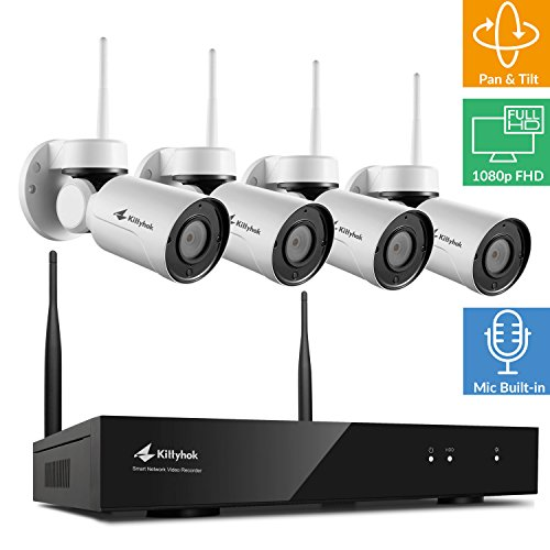 Audio] Kittyhok 8CH 1080P Full HD Wireless Pan Tilt Surveillance Camera System Outdoor with 4Pcs 1080P Wireless PT Cameras, 4X Digital Zoom, 80ft IR, Easy Mobile Access, No HDD ()