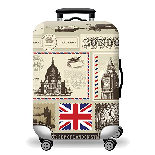 Artone London Postage Stamp Washable Spandex Travel Luggage Protector Baggage Suitcase Cover Fit 26-28 Inch Luggage Yellow (London Luggage)