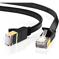 UGREEN Ethernet Cable Cat7 RJ45 Network Patch Cable Flat 10 Gigabit 600Mhz Lan Wire Cable Cord Shielded for Modem, Router, PC, Mac, Laptop, PS2, PS3, PS4, XBox, and XBox 360 Black (3FT)