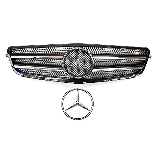 Vakker Mercedes Benz Front Black Grill Grille C-Class W204, Chrome Hood Sport AMG Style, Compatable with Mercedes Benz 2008-14
