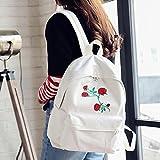 DDLBiz Women Girls Canvas Embroidery Flowers School Bag Travel Backpack Bag (White)