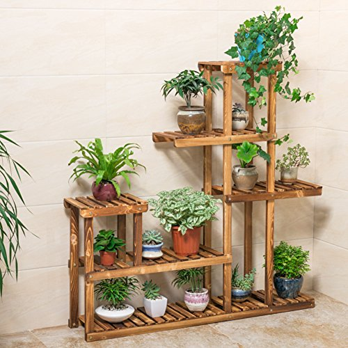 Balcony Flower Rack Wooden Living Room Multi-storey Flower Rack Indoor Flower Shelf-A by Flower racks