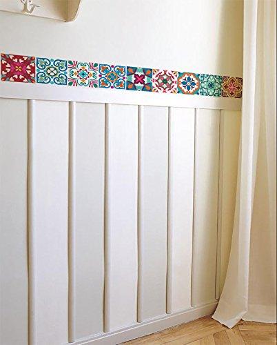 Decorative Tile Borders - BRIKETO FLORENCIA Decorative Border Tile Stickers Set 6 units 1.5 feet long each. Peel & Stick Adhesive Vinyl Border Tiles. Backsplash contour detail. Home & Furniture Decor. Mirror Decor.