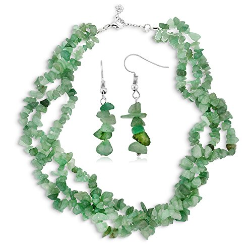 Gem Stone King Triple Strands Green Stone Chip Aventurine Twist Necklace Earrings Set