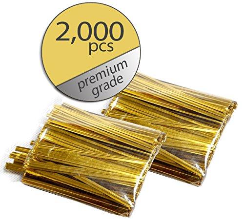 2,000 Pcs Gold Twist Ties - Metallic Twist Ties - Premium Grade - Bulk Value Pack - Buys Twist Ties