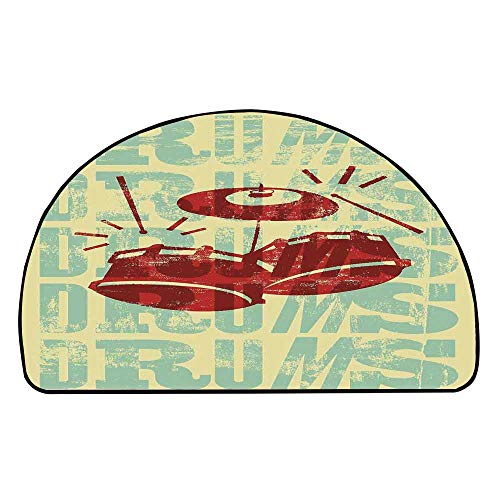 C COABALLA Vintage Decor Comfortable Semicircle Mat,Groovy Drumming Poster Design Percussion Rock Music Instrument Play Vibe Hit for Living Room,27.5
