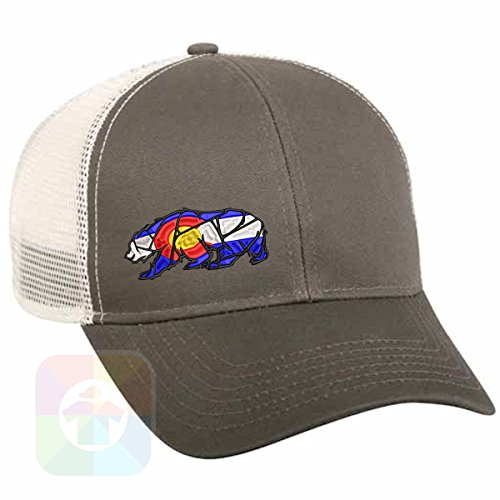 Embroidered Hat T-shirt (Custom Tshirts and Hats California Colorado Bear Structured Snapback Baseball Mesh Hat Cap #1402)