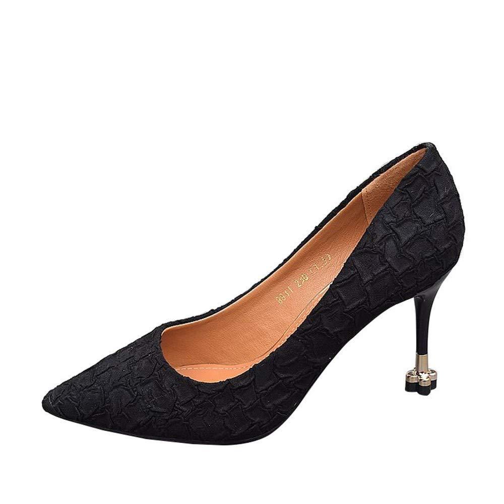 38 EU FLYRCX Style européen Pointu Chaussures Simples Dames Mode élégant tempérament avec la Bouche Peu Profonde Talons Hauts