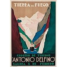 Antonio Delfino - Tierra del Fuego Vintage Poster (artist: Tabrega) Argentina (9x12 Art Print, Wall Decor Travel Poster)