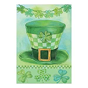 Green Leprechaun Hat And Clovers Evergreetings Garden Flag And Card