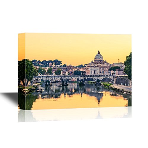 wall26 - Bridge Canvas Wall Art - Evening View at St. Peter's Cathedral in Rome, Italy - Gallery Wrap Modern Home Decor   Ready to Hang - 16x24 inches ()