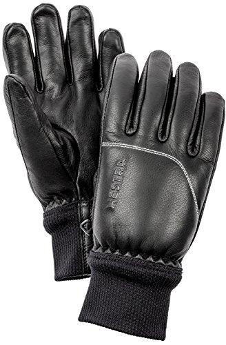 Omni Black Leather - Hestra Ski Gloves: Omni Cold Weater Winter Leather Gloves, Black/Black, 8