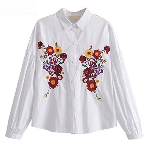 Feilongzaitianba Vintage Floral Embroidery Blouse Shirts Women Long Sleeve Turn-Down Collar Women Tops Xy3108 White M