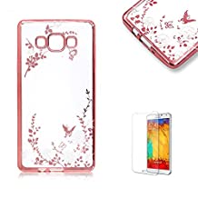 For Samsung Galaxy A5 (2015 Model) Case [with Free Screen Protector],Funyye Glitter Bling Soft Flexible TPU Silicone Case Cover Electroplate Plating Frame Clear Transparent Crystal Blossoms Pattern Soft Case Cover (White Flower) Design for Samsung Galaxy A5 (2015 Model)