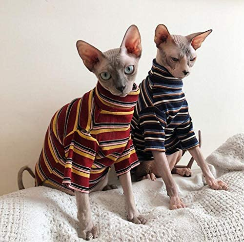 Bonaweite Hairless Cats Stripe T-Shirt, Breathable Cat Wear Clothes Vest Shirts for Sphynx, Cornish Rex, Devon Rex, Peterbald 21