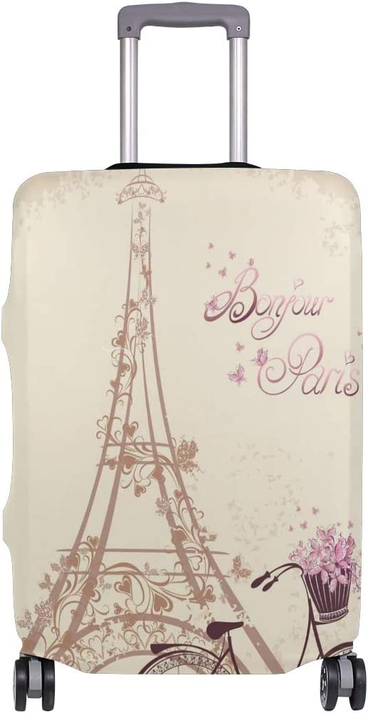 Cute Paris Print Luggage Protector Travel Luggage Cover Trolley Case Protective Cover Fits 18-32 Inch