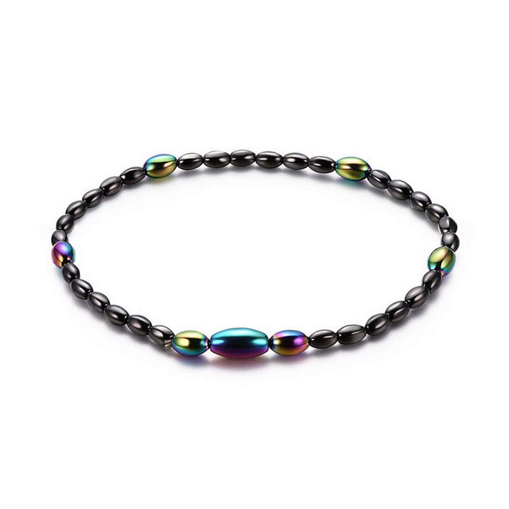 RainBabe Geometric Magnetic Hematite Beaded Anklet