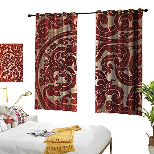 - Windshield Curtain Antique Thai Culture Vector Abstract Background Flower Pattern Wallpaper Design Artwork Print W55 xL63 Ruby Suitable for Bedroom Living Room Study,etc.