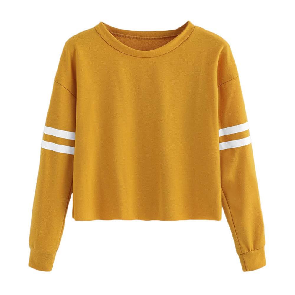 Sonnena Damen Pullover, Frauen Cropped Sweatshirt Outerwear Rundhalsausschnitt Herbst Sweatshirt Streifen Pullover Sweatjacke Oberbekleidung Outdoorjacke Bluse Tops