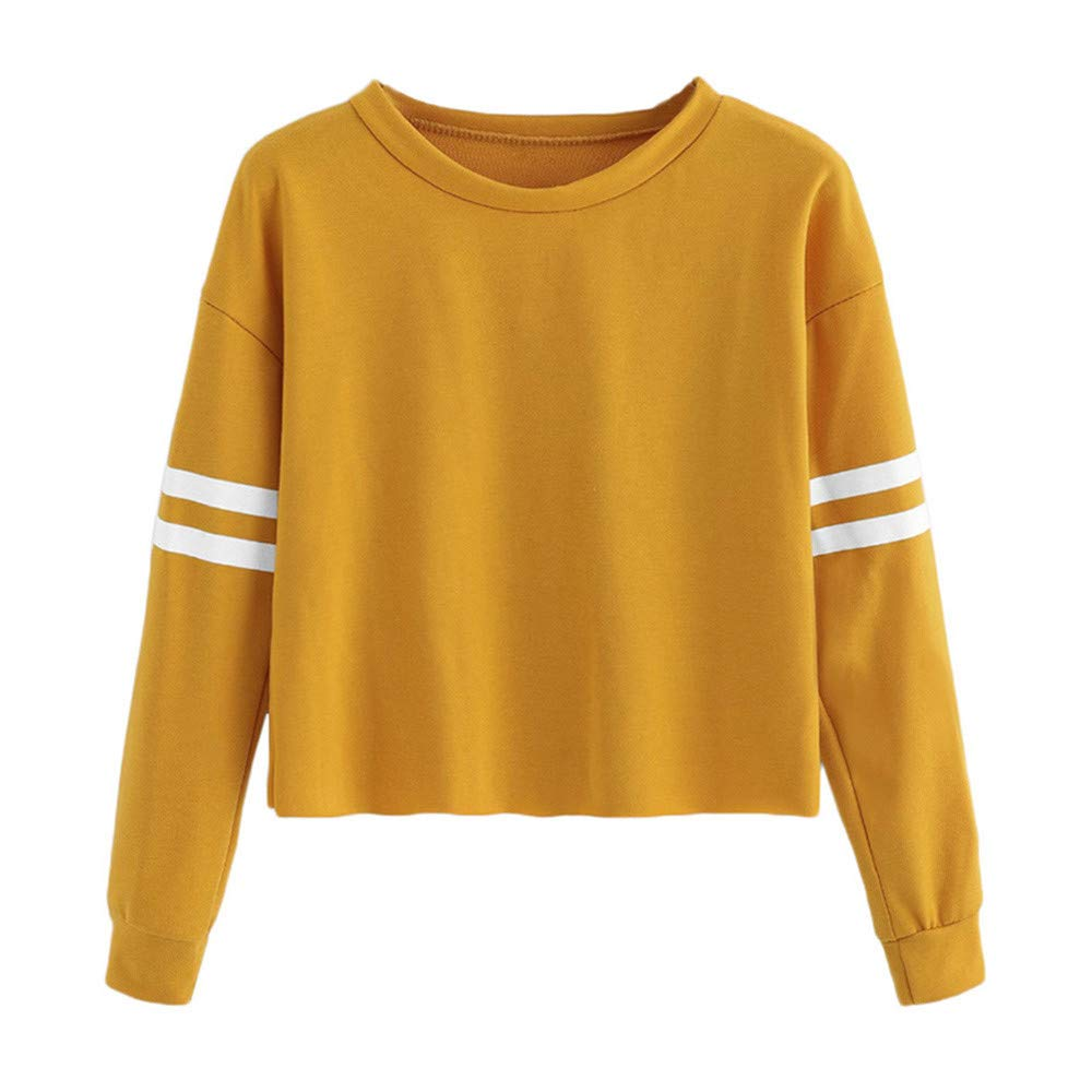 SMALLE ◕‿◕ Clearance,Blouse for Women, Long Sleeve Stripe Printing Round Neck Sweatshirt Blouse Tops
