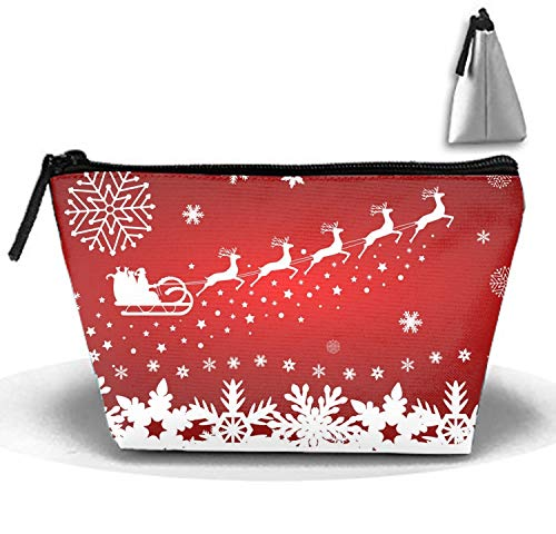 Santa Claus In Sled Rides In The Reindeer Makeup Pouch with Top Handle for Men and Women