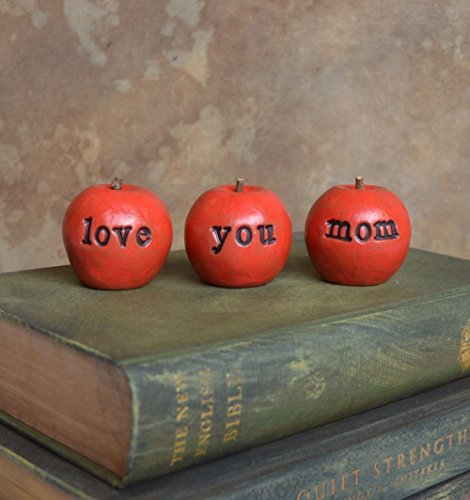 Rustic Apple (Rustic clay red love you mom apples // thoughtful gift with stamped text)