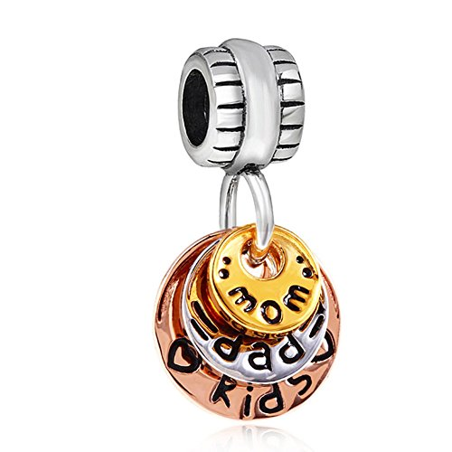 Family Charm 925 Sterling Silver Love Charm Mom Charm Dad Charm Kids Charm for Pandora Bracelet