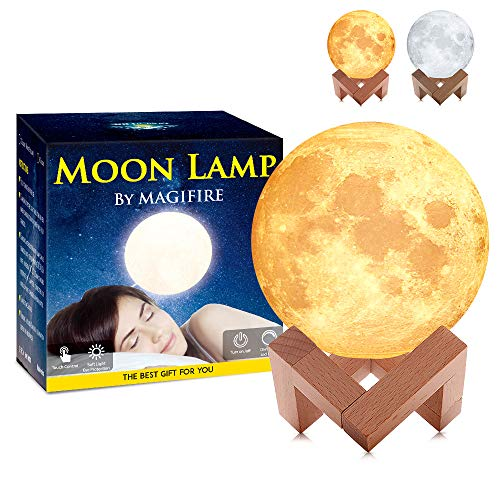"MAGIFIRE Moon Lamp, Touch&Tap Control - 3.9"" 2 Colors Without Remote Control - Night Light Lighting LED 3D Printing Warm Moon Light Brightness Gift for Valentine"