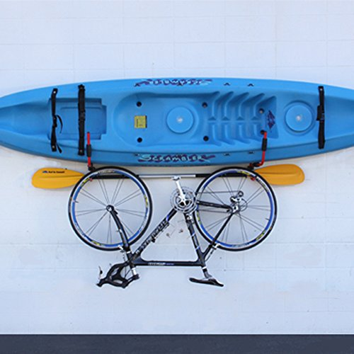 J-Hook Metal Steel Kayak Ladder Wall Mount Storage Rack Bike Surfboard Canoe Folding Hanger SUP Storage for Garage or Shed by Surf To Summit