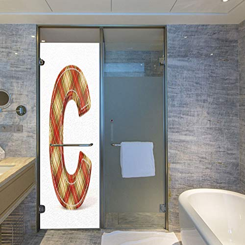 YOLIYANA Control Heat and Anti UV Window Cling,Letter C,Reduce Heat, Glare and Block Out Harmful UV Rays,Vintage Typeface Design with Classical Pattern Sewing Craft,24