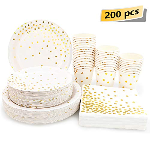 White and Gold Party Supplies - 200PCS Disposable White Paper Plates Dinnerware Set Gold Dots 50 Dinner Plates 50 Dessert Plates 50 9oz Cups 50 Napkins Wedding Birthday Party Baby Shower Christmas (Gold Dot Dinnerware)