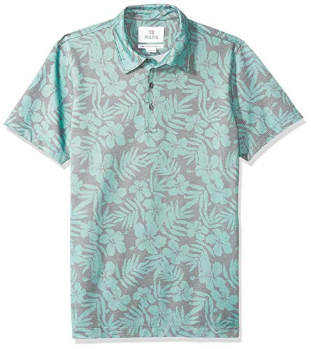 28 Palms Men's Relaxed-Fit Performance Cotton Tropical Print Pique Golf Polo Shirt, Washed Sage Green Hibiscus Floral, Medium ()