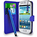 Samsung Galaxy S3 Mini i8190 - Premium Leather Wallet Flip Case Cover Pouch + Long Touch Stylus Pen + Mini Touch Stylus Pen + Screen Protector & Polishing Cloth (Wallet Blue)