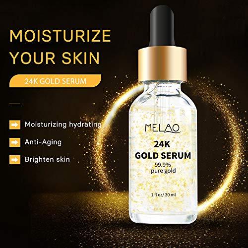 51ENDEBAmmL - 24k Pure Gold Foil Essence Serum Anti-Wrinkle Anti-Aging Serums For Reducing Fine Lines Brightening Skin Tone Anti-Oxidant Nourishing Whitening Firming